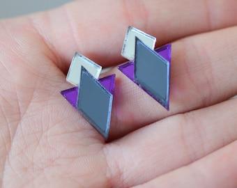 Mirror Perspex Geometric Stud Earrings - Grey / Silver / Purple
