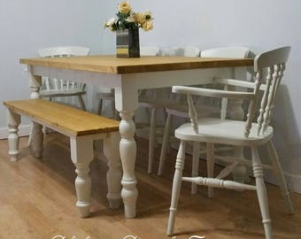 NEW Farmhouse dining table and chairs and bench Rustic Handmade Rustic Bespoke Kitchen 7ft 6ft 5ft 4ft solid wood