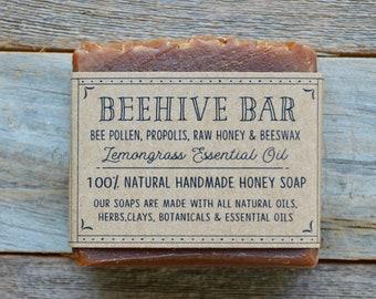 Beehive Bar, Handmade Natural Soap, Honey Soap, Natural Soap, Handcrafted Gifts, Bee Soap, Lemongrass Soap, All Natural Soap, Homemade Soap