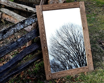 Large Rustic Mirror - Mirrors - Framed Mirrors - Wood Mirror - Rustic Mirror - Bathroom Mirror - Large Mirror - Wall Mirror - Wood Mirror