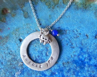 Personalized crab necklace in sterling silver hand stamped with name monogram or initial - cancer zodiac