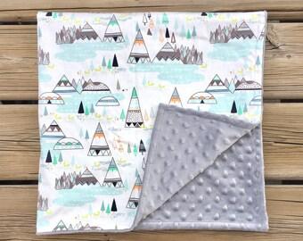 Minky Baby Blanket  - Crib blanket, Stroller Blanket
