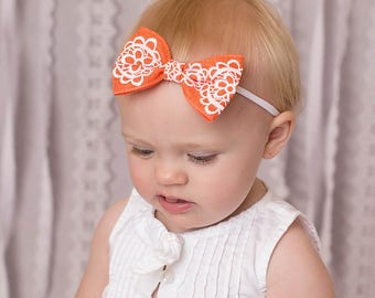 Orange Bow Headband, Orange Nylon Headband, Tuxedo Bow Headband, One Size Fits All Headband, Orange Headband, Newborn Bow Headband