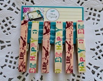 6 wooden clothes peg magnet set, life and happiness affirmations mantras house-warming, clothespin gift set