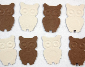 100 Owl Confetti in Brown and Tan, Owl Birthday Party Decorations, Owl Baby Shower Confetti, Look Whoos One Party Supply, Embellishments