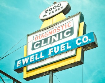 Fort Worth, Texas, Mechanic, Car, Shop, Gas Station - Ewell Fuel Co Neon Sign