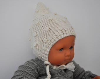 GASPARD - Bonnet for baby, hand knitted in Merino Wool, choose colors