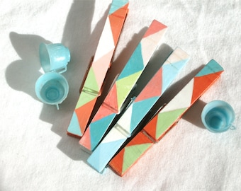 PASTEL GEOMETRIC CLOTHESPINS hand painted magnetic clips