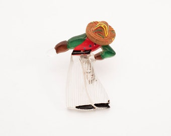 Mexican Pin, Lucite and Wood, 1930s, USA // Machine Age Brooch