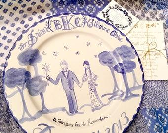 Custom Wedding Platter ,Blue and White ,Wedding Gift ,Personalized Wedding Gift,Handpainted Wedding Platter