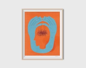 Brain game print, fine art print, illustration, homedecor ideas