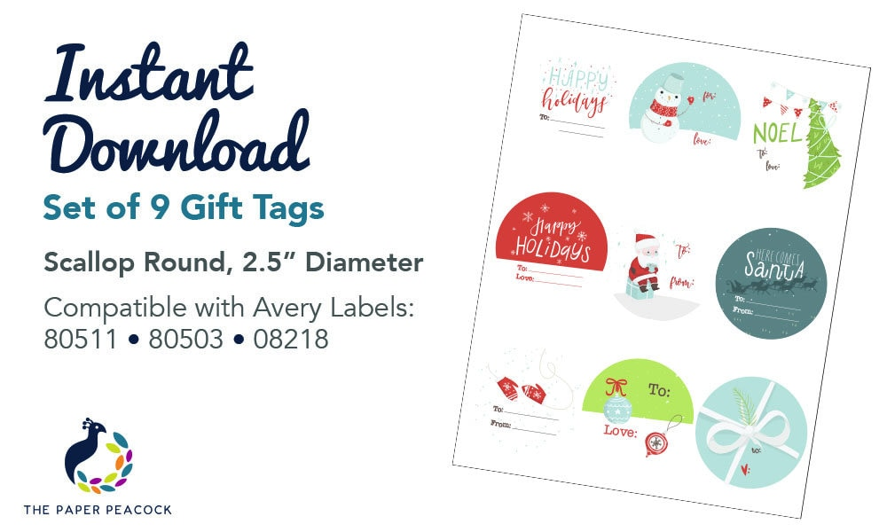 9 Christmas Gift Tags Instant Download Whimsical Traditional