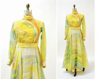 Vintage Designer 70s Dress Long Yellow Abstract Hand Painted Print Dress Medium // Vintage 70s Evening Gown Dress Yellow Don Luis De Espana