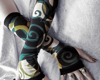 Aelfwar Garden Arm Warmers - Black Teal Blue Olive Green & Cream Swirls Cotton - Yoga Gothic Dark Tribal Fusion Belly Dance Vampire Cycling
