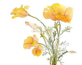 Poppy Art - little bunch of California tangerine tango poppies - bright yellow orange springtime - watercolor 8x10 print