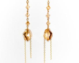 0070-Golden Shadow Swarovski Crystal Drops in 14kt gold filled