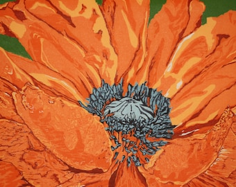 """Big Poppy  16 x 20""""   woodcut"""