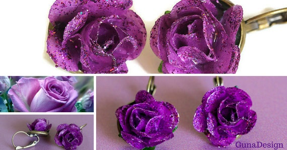 Purple Paper Rose Earrings