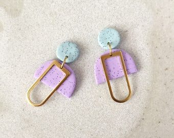 Mabel Earrings - Speckled Mint & Lilac with a brass rectangular silhouette.