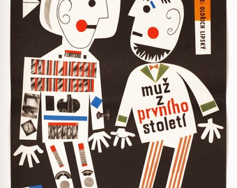 Movie Poster - Man in Outer Space, Poster Design Jan Kubíček, Original 1960s Movie Poster, Wall Art, Film Poster