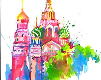 Russia Travel Watercolor - Print Moscow Illustration - Cityscape - Wanderlust Collection