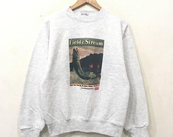 Rare!! LEVIS Strauss Field & Stream Vintage 90'sSweatshirt Pullover Jumper Sportwear Outdoor hiphop medium Size Made In Usa