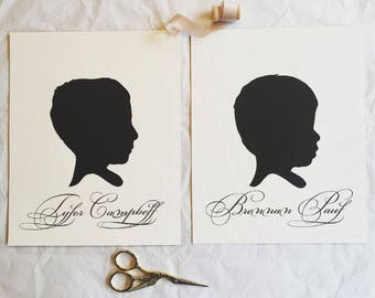 Custom Hand Cut Silhouette Portrait-hand traced and cut. NAME INCLUDED.