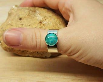 Men's Turquoise ring. 925 sterling silver. Reiki jewelry uk. December Birthstone. Mens adjustable ring