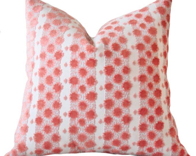 Designer Coral - Salmon Peach Aqua Tilton Fenwick Pillow - Decorative Geometric Throw Pillow - Motif Pillows