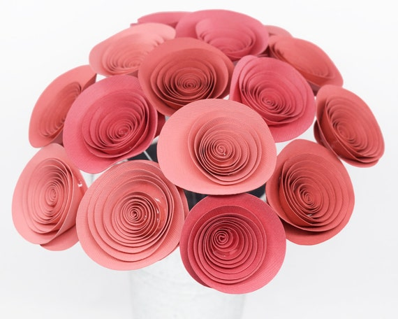 Coral paper flowers on stems 15 coral paper roses coral baby coral paper flowers on stems 15 coral paper roses coral baby shower decor coral bachelorette brunch rolled paper rose cute office decor mightylinksfo