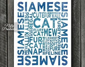 Siamese Cat Print - INSTANT DOWNLOAD Siamese Cat Art - Siamese Cats Poster - Siamese Gifts - Printable Siamese Cat Wall Art - Blue Cat Print