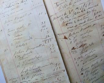 1868 Large Loose Ledger Pages
