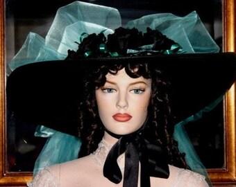 Kentucky Derby Hat Ascot Edwardian Southern Belle Hat Hat Titanic Hat Downton Abbey Hat Women's Black Turquoise Hat - Sweetheart of Atlanta