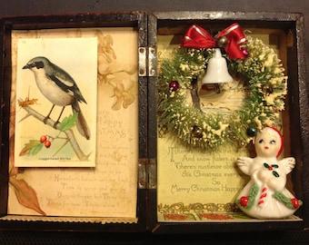 Vintage Christmas Box Assemblage Mixed Media