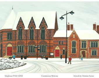 Christmas Literary Centre - original oil painting on linen canvas by Christian Turner