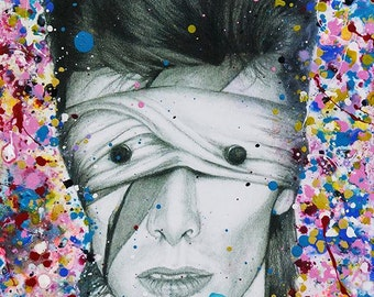 David Bowie Lazarus Aladdin Sane Abstract painting on charcoal pencil drawing version 1 fine art fan art print wall decor