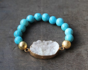 Turquoise Colored Stone with White Druzy Bead Stretch Bracelet