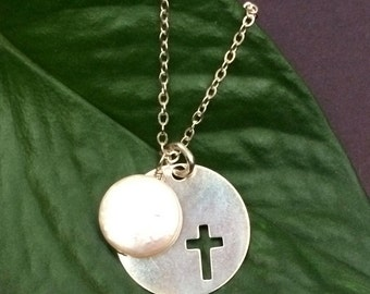 Confirmation of Faith Necklace - Silver Cross and Pearl