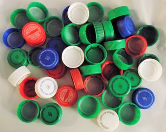 Lot of 50 clean plastic Soda bottle caps Pepsi Coke assorted colors