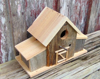 Rustic Reclaimed Cedar Birdhouse With Antique Square Nail Perch