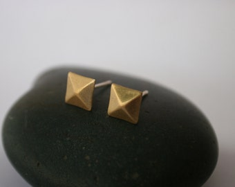 Beveled Square Stud Raw Brass Post Earring (7mm x 7mm)
