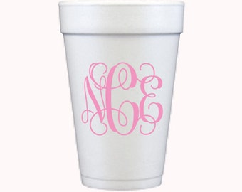 Foam Cups | Interlocking Monogram (custom order)