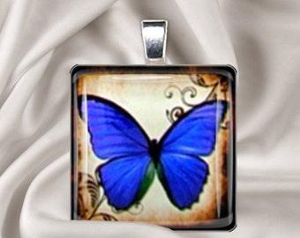 Blue Butterfly Glass Tile Pendant & Black Cord Necklace