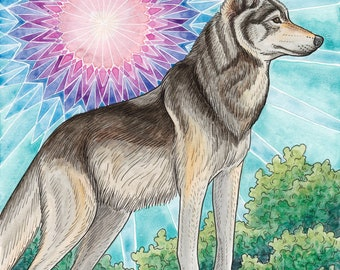 Grey Wolf Original Painting with 11x14 Mat - Wolf Illustration - Colorful Animal Art