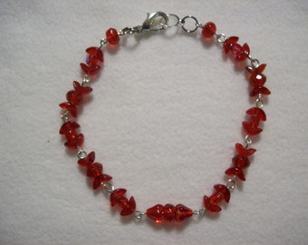 Ruby Red Chained Bracelet