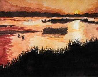 Watercolor Landscape Painting JPEG High Resolution L6