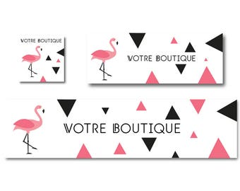 Flamingo Pink and black graphics etsy shop banner