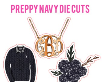 Preppy Navy Die Cuts | cable knit sweater, monogram necklace, blue flower
