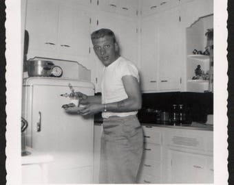 Vintage Snapshot Photo Tattooed Man Caught in the Act Getting Midnight Snack 1950's, Original Found Photo, Vernacular Photography