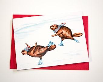 Ice skating beavers card, Winter card, Holiday card